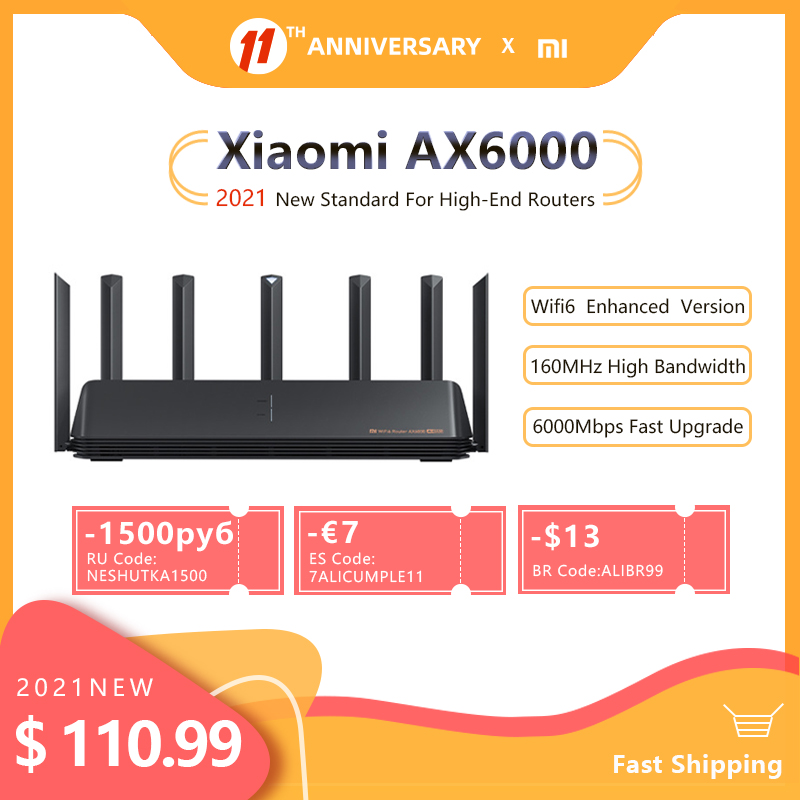 2021 New Xiaomi Router AX6000 AIoT Router 6000Mbs WiFi6 VPN 512MB Qualcomm CPU Mesh Repeater External Signal Network Amplifier M 1