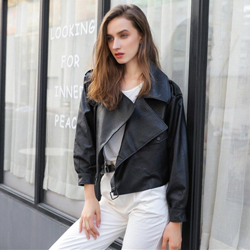 New 2019 Loose PU Faux   Leather   Jacket Women Classic Moto Biker Jacket Spring Autumn Lady Basic Coat Plus Size Outerwear