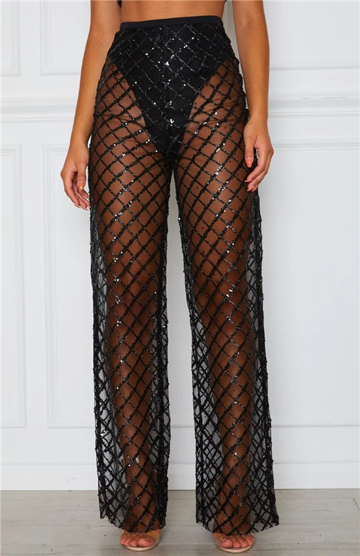2020 Sexy Women Mesh See-Through Bikini Cover Up Long Pants Beach Swimwear High Waist Sheer Trousers Clubwear 2 Colors