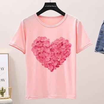 2020 Women's Rose heart Pink T-Shirt Female Funny Flower Heart T-Shirt Girl Print Casual Short Sleeve Tshirt Streetwear flower cluster print slub t shirt