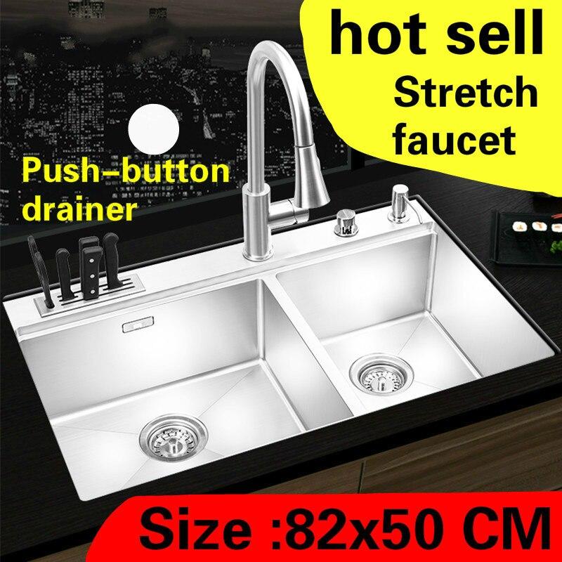Livraison gratuite appartement cuisine manuel évier double rainure luxe robinet extensible 304 acier inoxydable grande vente chaude 820x500 MM
