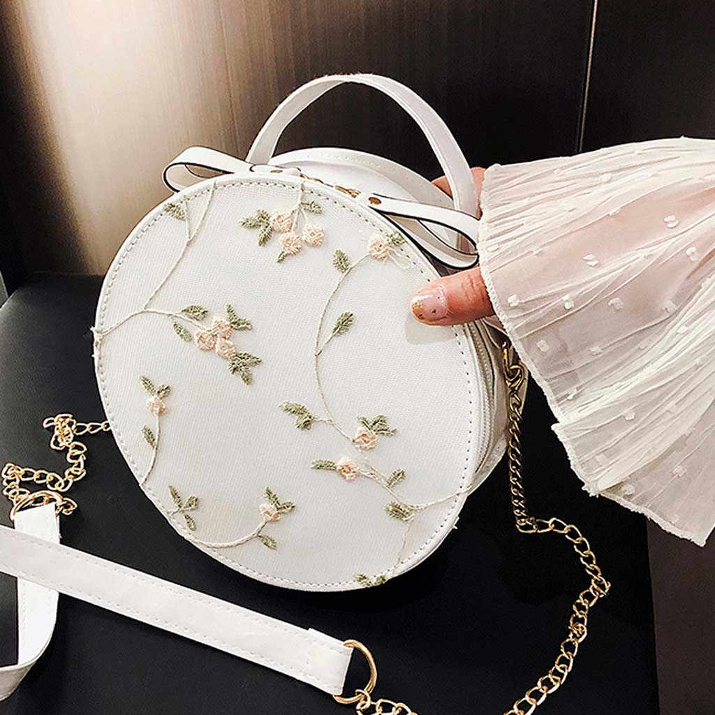 30 # Wanita Tas Bahu Atas Merek Desainer Tas Wanita Fashion Renda Segar Tas Crossbody Tas Warna Solid Kecil bulat Tas