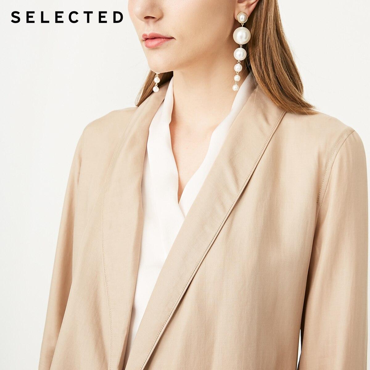Las mujeres seleccionadas es Draped V-cuello Denim sueltos cintura Blazer S | 419208507 | - 4