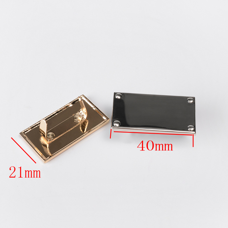 Metal Hardware factory direct metal LOGO trademark bag hardware brand accessories can open mold custom design 40 *21mm