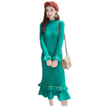 New Plus Size Knit Mermaid Dress Women A