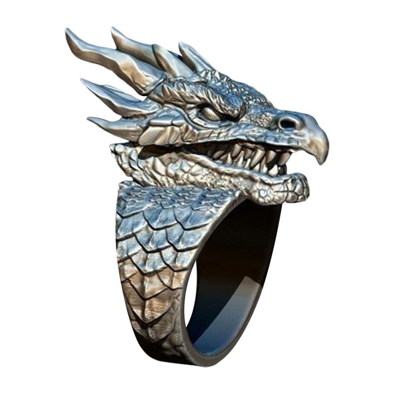 Men's Ferocious Dragon Ring Dragon In Myth Norway's Dragon Ring Hip Hop Punk Motorcycle Party Ring Noble Jewelry(China)