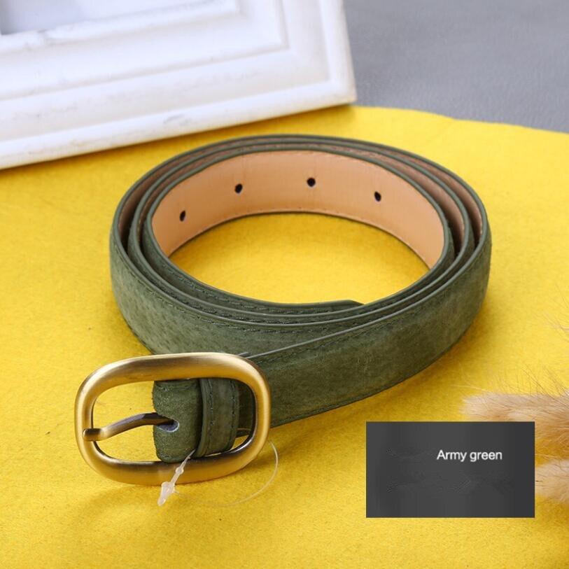Waist Art 2019 New Retro Pigskin Ladies Belt Multicolor Needle Buckle Genuine Leather Decorative Pants Strap Beige Green Black