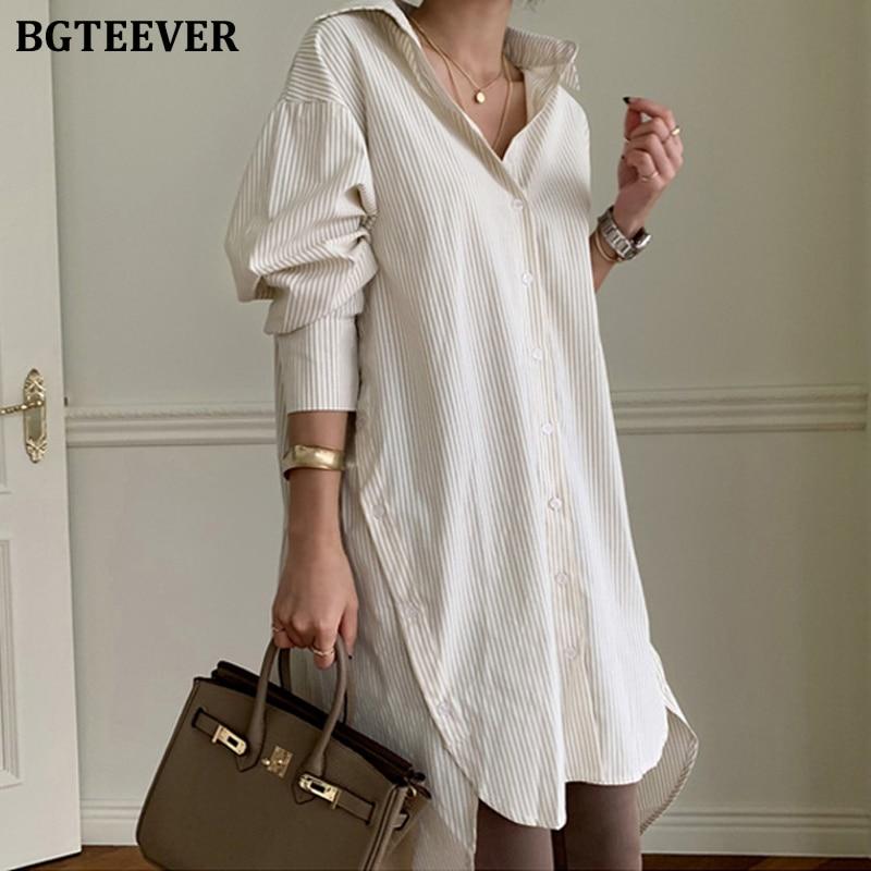 BGTEEVER 2020 Весенние длинные полосатые женские блузки, рубашки, женские блузки, топы с длинным рукавом, повседневные Хлопковые женские блузки большого размера|Блузки и рубашки|   | АлиЭкспресс