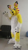 Long Fur Yellow Husky Wolf Dog Mascot Costume Suits Fursuit Halloween Cosplay Party Game Fancy Dress Adult Size Mascot Costume