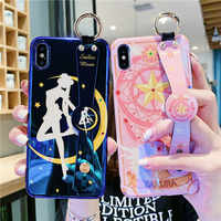 Sailormoon Fall für iPhone 11 Pro XS Max XR X Nette Kawaii Sailor Moon Mars Stand Telefon Abdeckung für iPhone 7 8 6 6S Plus Funda