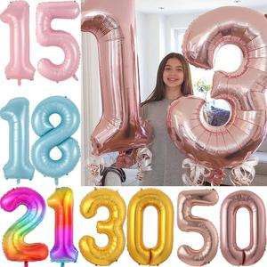 2pcs 40inch Rose Gold Sliver Number Foil Balloon Congratulate 13 18 21 30 40 50 60 years old adult birthday party decor globos