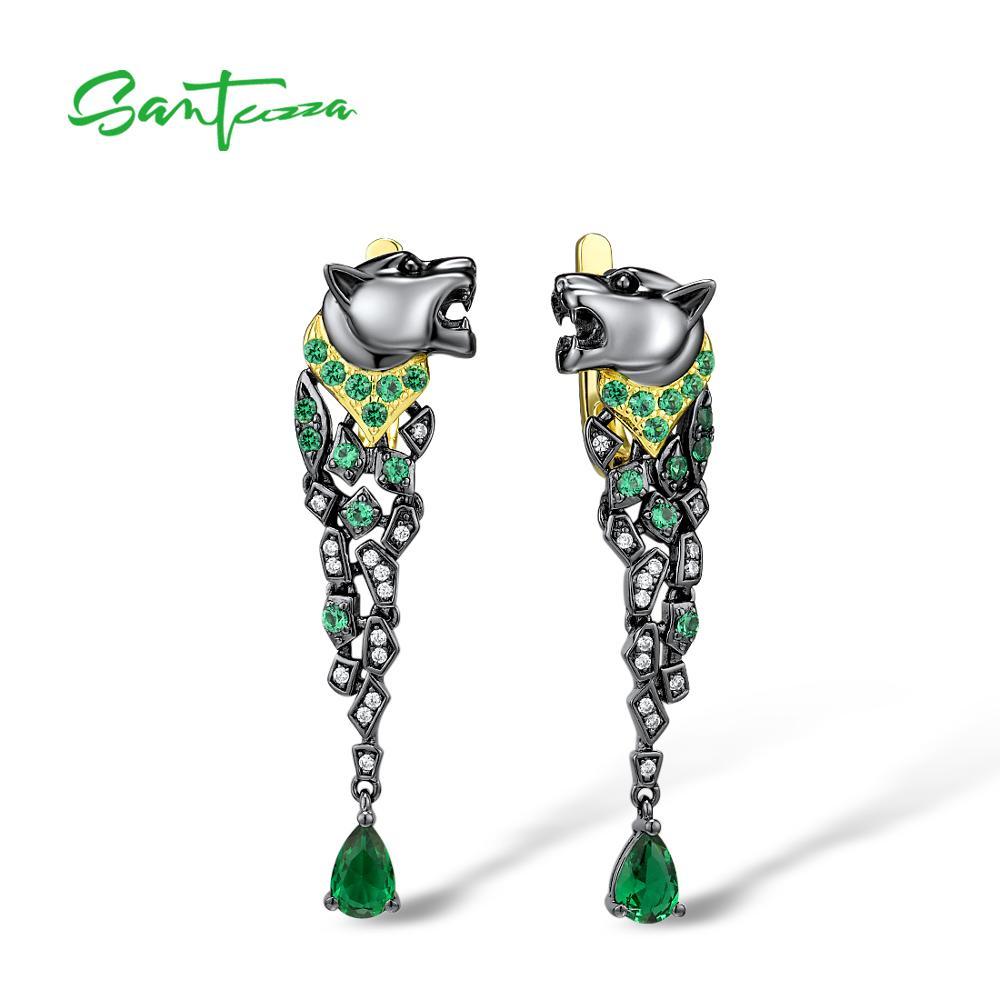 SANTUZZA Silver Earrings For Women 925 Sterling Silver Black Color Leopard Sparkling Green Spinel Stunning Trendy Fine Jewelry