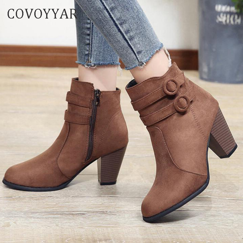 COVOYYAR 2019 Double Buckle Woman <font><b>Boots</b></font> Autumn Winter Shoes Women <font><b>Block</b></font> <font><b>Heel</b></font> Flock Short <font><b>Ankle</b></font> <font><b>Boots</b></font> Lady Casual Shoes WBS006 image