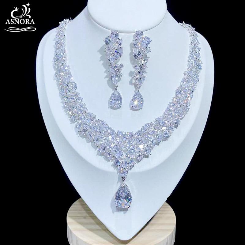 Acessórios de lujo, zircônia cúbica brillante, colar de boda, pendientes, acessórios para novias x0826