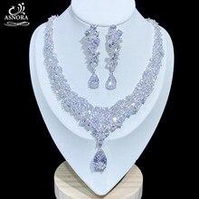 ASNORA Conjuntos de joyería nupcial de lujo de Zirconia cúbica brillante collar de boda de pendientes de botón pendientes de accesorios para novias X0826