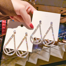 Jiofree vender quente exagerada moda strass clipe de cristal brincos sem piercing longo clipe de ouvido feminino jóias