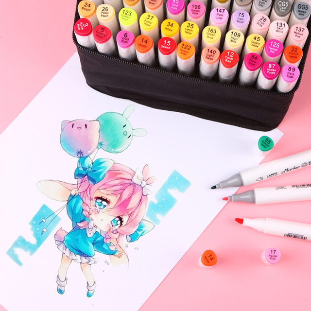 CHENYU 30/40/60/80Pcs Color Markers Manga Drawing Markers Pen Alcohol Based Non Toxic Sketch Oily Twin Brush Pen Art Supplies 5