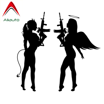 Aliauto Fashion Car Stickers Sexy Devil Girl Angel Face Accessories Vinyl Decals Waterproof for Motorcycle Jdm Gti Kia,17cm*16cm