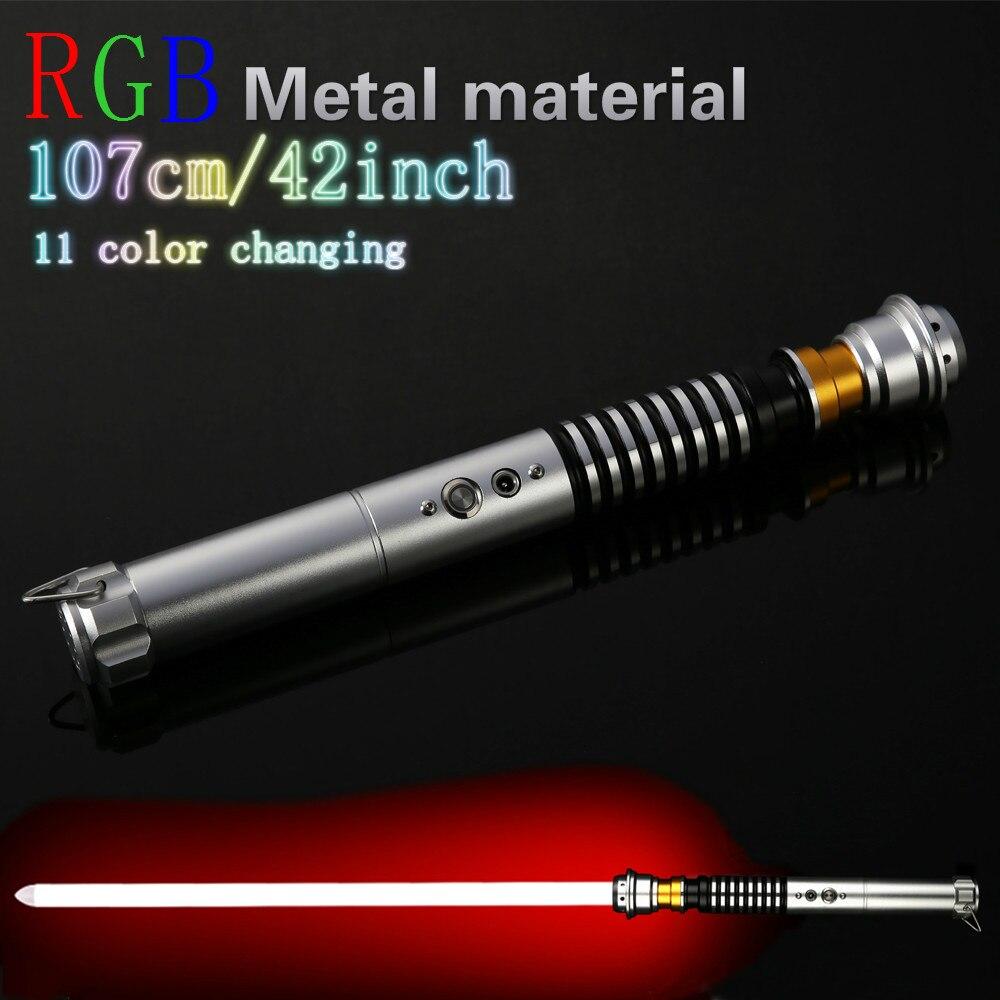 LED Lightsaber Luke Star Jedi Cosplay Light Saber With Voice Vader Sword Discoloration Metal Hilt Stick Luminous Lightstick
