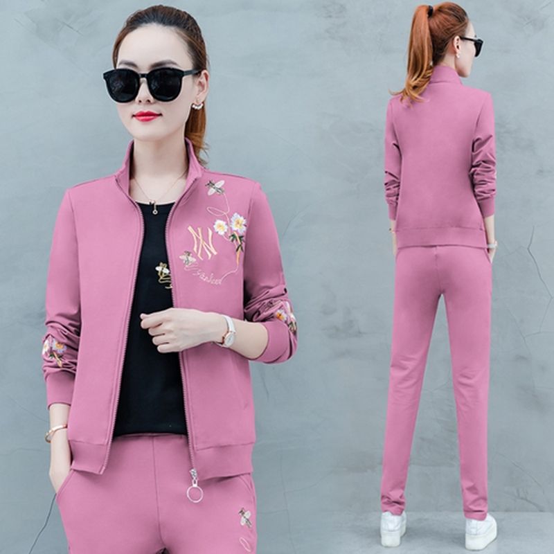 Pink 3 2 Piece Set  Tracksuits For Women Coat Tops And Pants Suit Plus Size Print Outfits Matching Sets Winter Autumn Clothing