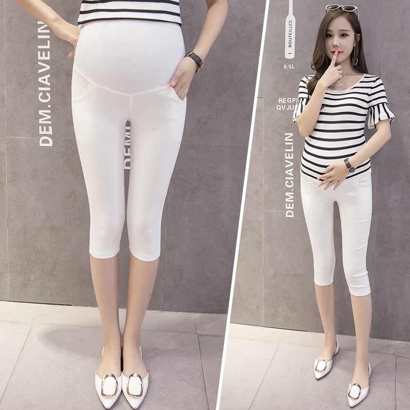 New Style Pregnant Women Summer Capri Casual Pants Summer Thin Slim Fit Elasticity Maternity Pants Outer Wear Base