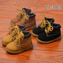 AFDSWG leather boots kids boys and girls snow boots thick velvet warm Martin boots leather boots snow shoes kids winter children shoes girls martin boots kids ankle boots retro flower plush thick velvet warm cotton shoes leather boots boys