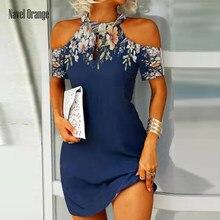 Mulheres oco para fora mini vestido de verão casual halter manga curta vestido de festa impressão plus size 3xl elegante vestido feminino