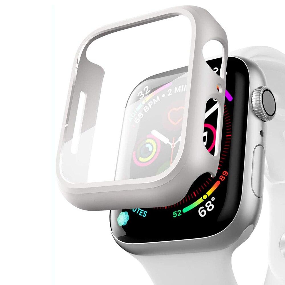 Compatível apple assistir série 6 se caso 44mm 40mm filme de vidro com protetor de tela cobertura completa para iwatch 6 5 4 3 2 42mm 38mm