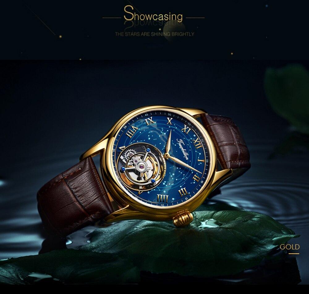 100% Tourbillon GUANQIN Men watches top brand luxury Tourbillon clock men Sapphire Skeleton mechanical watch Relogio Masculino 18