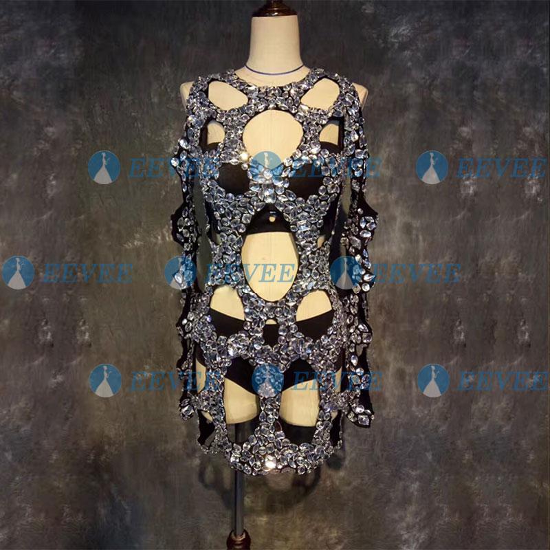 Black Openwork Stage Costume Set Bar Nightclub Singer DJ Ds GOGO Dance Costume Shiny Hand-sewn Crystal Dress Pole Dance Wear