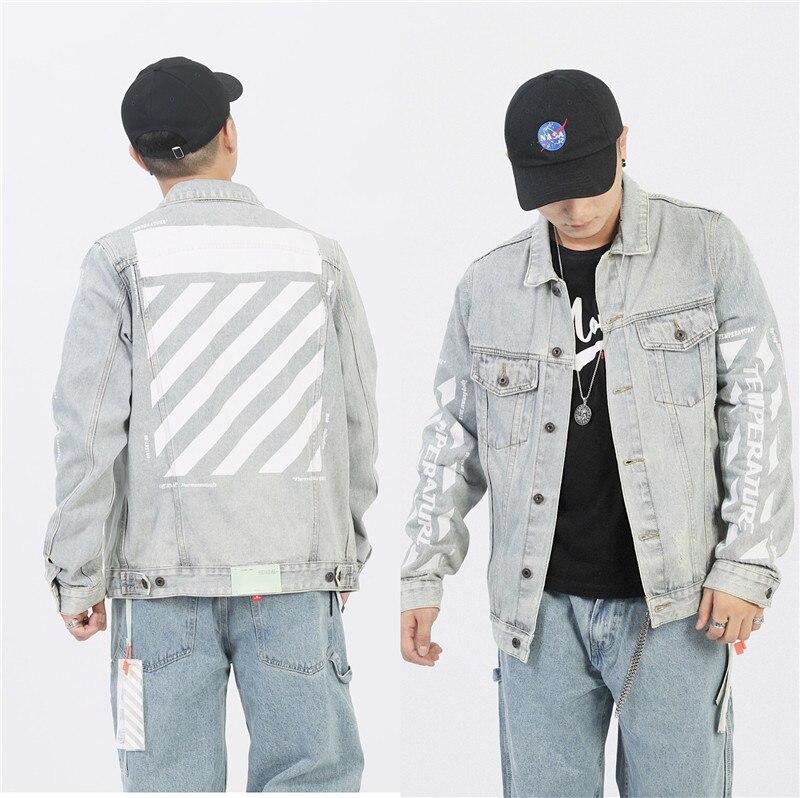 Denim Jacket Men Motorcycle Bomber Jacket Jeans Wear Jacket Hiphop Off Streetwear Black White Cotton Coat Harajuku OW Cowboy 3XL