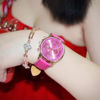 Foloy women watch Luxury fashion casual Geneva Roman Numerals Faux Leather Analog Quartz Female Watches