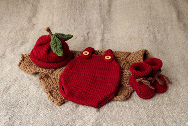Baby Shooting Clothing Newborn Baby Tomatoes Costume Style Red Cotton Suit Props Photography Accessories