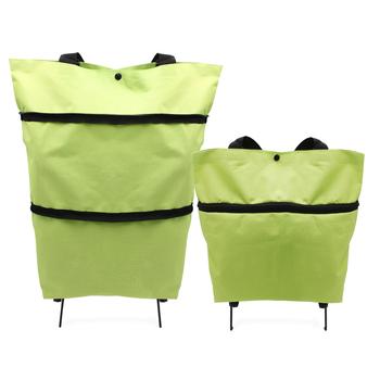 Składana torba na zakupy składana torba na zakupy torba na kółkach wielokrotnego użytku torba na zakupy Organizer na żywność torba na warzywa z 2 kółkami tanie i dobre opinie CN (pochodzenie) KİTCHEN Torby do przechowywania Ekologiczne Składane Oxford Trójwymiarowy typu Around 23L-20KG Casual