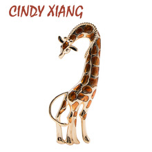 CINDY XIANG Enamel Large Giraffe Brooches For Women Vivid Animal Design Brooch Pin Luxury High Quality Accessories Autumn Style