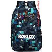 ROBLOX клетчатый рюкзак, детская школьная сумка, женский рюкзак, подростковые школьные сумки, Холщовый студенческий рюкзак для мальчиков и дев...
