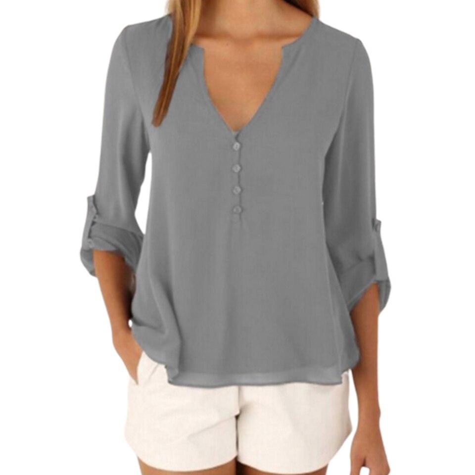 Short Front Long Back Shirt Plus Size 5xl Back Button Front Top Elegant Deep V Neck Shirt Women Solid Color Chiffon Shirt Plain