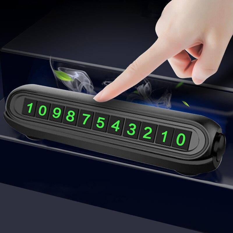 2020 새로운 빛나는 자동차 임시 주차 카드 스티커 자동차 공기 청정기 자동 전화 번호 카드 플레이트 자동차 아로마 테라피 액세서리