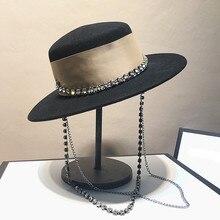 Chapeau de célébrités pour femmes, bonnet fedoras à chaîne métallique, pour dîner formel, panama