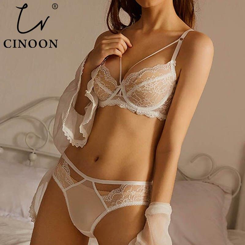 CINOON Neue Plus Größe Spitze Bh Set Push Up Bhs und Panty Set Klassische Bandage Bügel Dessous Set Sexy Ultradünne unterwäsche