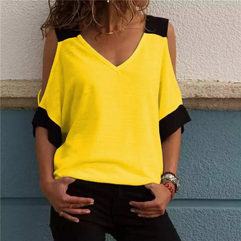 Women's Patchwork Cold Shoulder T-shirt 2XL Plus Size Tops V-Neck Half Sleeve Female Tee Shirt Summer Casual T Shirt For Women pink tiered flounced details crossed front cold shoulder long sleeves t shirt
