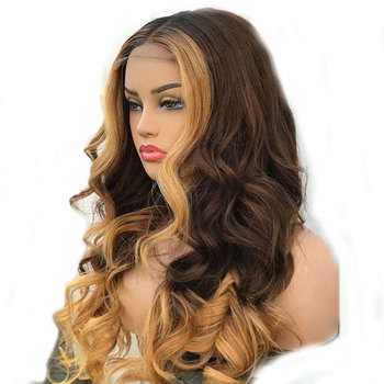 SimBeauty Body Wave 360 13x4 Lace Front Human Hair Wig Highlight Ombre Blonde Brazilian Remy With Baby Hair Full Lace Wig U Part