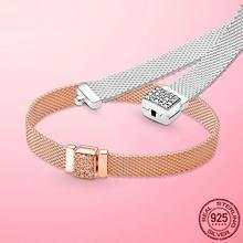 Hot Sale Silver Bracelet 925 Sterling Silver & Rose Gold Cubic Zircon Clasp Reflection Bracelet for Women 925 Silver Jewelry