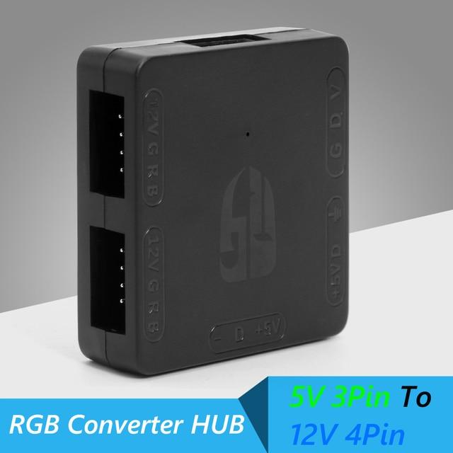 Compact Portable Carry Convenient Computer 5V 3 Pin to 12V 4 Pin RGB Converter PC 5V to 12V Motherboard RGB HUB 3