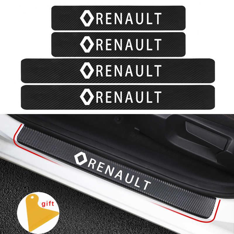 Estilo de coche 4 Uds de fibra de carbono de la puerta del coche adhesivo de placa de desgaste de la etiqueta para Renault duster megane 2 logan renault clio Auto Accesorios
