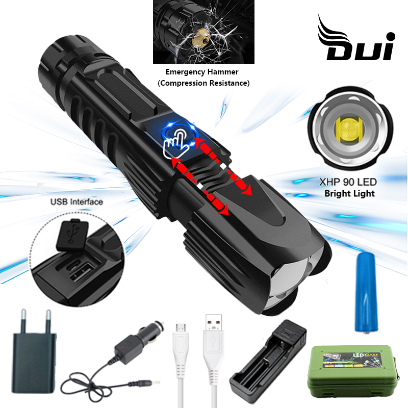 DUI New XHP90 Powerful Tactical Flashlight Lumens Usb Zoom Rechargeable Led Lamp High Power Rechargeable Flashlight