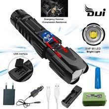 DUI New XHP90 powerful tactical led flashlight lumens Usb zo