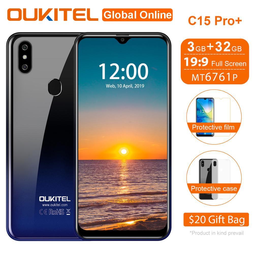 OUKITEL C15 Pro + смартфон 6,088 дюймов 3 Гб оперативной памяти, Оперативная память 32GB Встроенная память 3200 мА/ч, мобильный телефон отпечатков пальцев ...