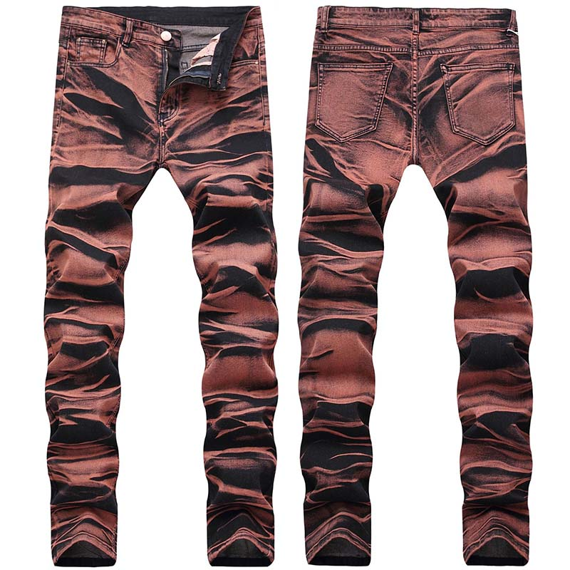 KIOVNO Fashion Men Painted Denim Trousers Multi Color Sretch Printed Jeans Pants For Male Size 29-42 (3)