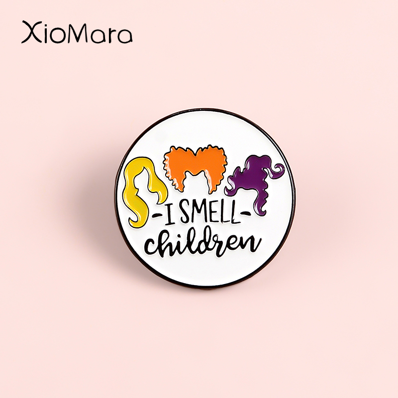 I Smell Children Enamel Pins Hocus Pocus 90S' Halloween Comedy Movie Witch Witchcraft Round Badge Lapel Pin Brooches For Gifts